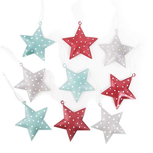 Logbuch-Verlag 9 Bunte Sternanhänger in rot grau türkis 5 cm Sterne zum Aufhängen Weihnachtsdeko Deko Metall Anhänger
