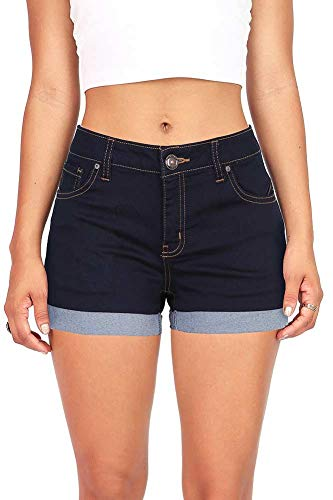 Wax Women's Juniors Perfect Fit Mid-Rise Denim Shorts Super Dark Denim Medium
