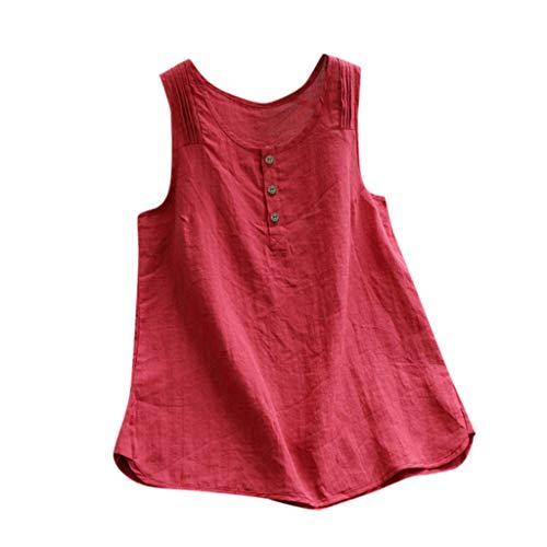 TUDUZ Blusas Mujer Sin Mangas Verano Lino Camisas Color Sólido Vintage Camisetas Tallas Grandes