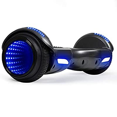CBD Flash Hoverboard, Two-Wheel 6.5 inch Self Balancing Scooter with Bluetooth Speaker and LED Mirror Wheel for Kids Adults, Black