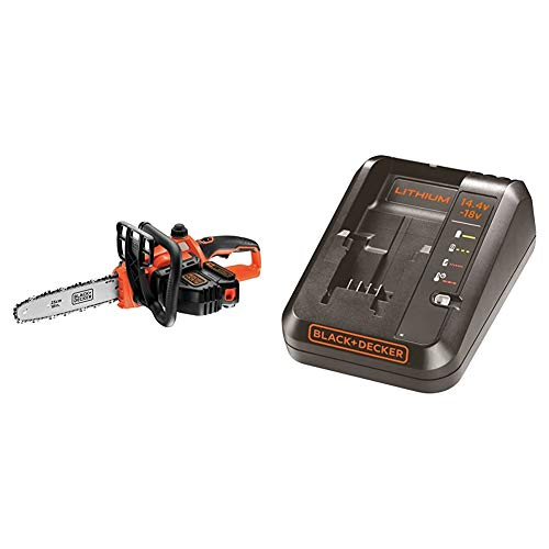 BLACK+DECKER GKC1825L20-QW - Motosierra a batería 18V, 2 Ah, espada 25 cm + BDC1A-QW - Cargador para baterías de litio 14.4 y 18V