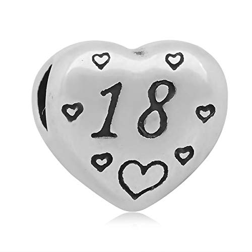 Buckets of Beads Stainless Steel Heart Shaped Number 18 Charm Bead for Charm Bracelets