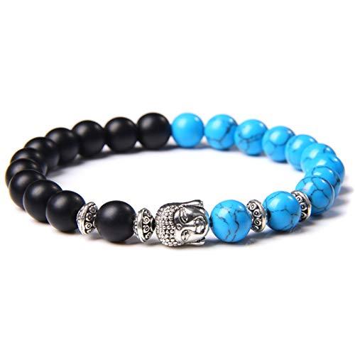 HLH Clásico Color Plateado Buddha Buda Chakra Pulsera Piedra Natural Azul Turquesa Beads Stretch orer Pulsera para Mujeres Hombres (Length : 17CM, Metal Color : Type 5)