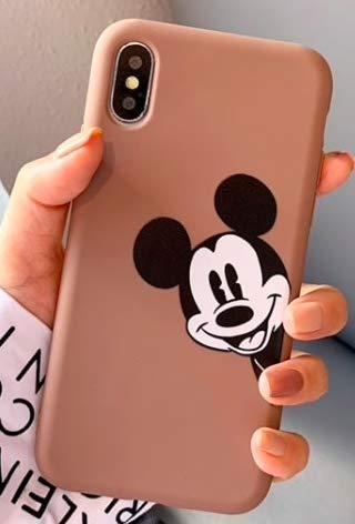 Art Design Funda para iPhone X/iPhone XS Mickey Minnie Mouse Retro Marron Carcasa de Moviles Caso Silicón