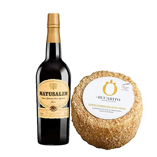 Pack de Vino Oloroso Dulce Matusalem y Queso Curado de Leche Cruda Emborrado - Vino de 75 cl y Queso de 900 g aprox - Mezclanza