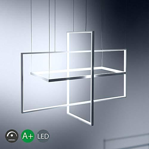 Lamparas De Arana Aluminio Iluminacion Colgante De Luz LED 81W Lampara Colgante Creativo Rectangular Simple Habitacion De Techo Moderna Lampara De Arana Ajustable Comedor,Blanco,Whitelight