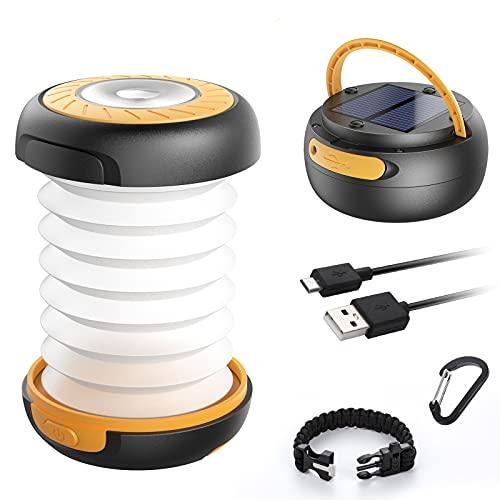 GlobaLink Lampe Lanterne Camping Solaire Pliante Rechargeable 2 en 1 Extérieur Pliante de Poche Télescopique Câble USB Batterie 3 Luminosité 800mAh Durée Max 12H pour Randonnée Bivouac