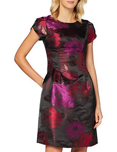 APART Elegantes Damen Kleid, Jacquard Kleid, Blütenmuster, Bordeaux-Multicolor, Bordeaux-Multicolor, 36