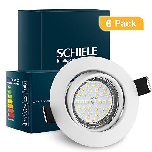 SCHIELE LED Einbaustrahler Weiß GU10 Schwenkbar Metall Einbauleuchten inkl. 6x 6W 230V Warmweiß Einbauspots Set Ersatz für 50W