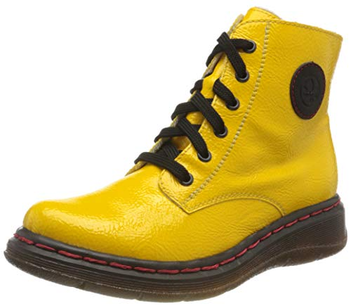 Rieker Damen Y3200 Mode-Stiefel, Yellow/schwarz 68, 37 EU