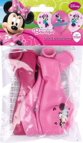 amscan 6 Latexballons Minnie, Latex, Pink/Rosa, 11 x 3 x 19 cm, 10