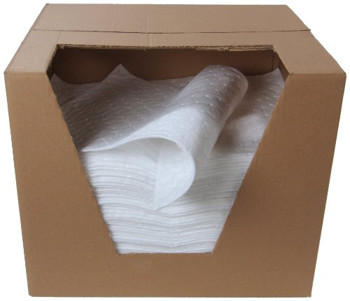 """ESP 2MBWPSL Polypropylene Medium Weight Meltblown Oil Only Absorbent Single Sided Laminated Pad, 18"""" Length x 15"""" Width, White (100 Per Bale)"""