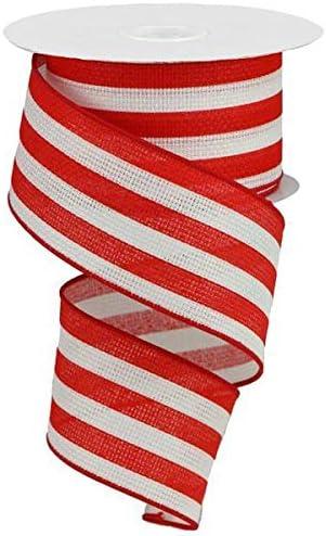Vertical Stripe Wired Edge Ribbon 10 Yards White Blue 2 5 Amazon Ca Home Kitchen
