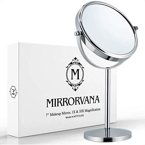 Mirrorvana Miroir Grossissant x10 sur Pied de Table pour Maquillage, 10 Fois et 1 Fois, 18cm