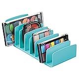 mDesign Organizador de Maquillaje de plástico sin BPA – Bandeja de Maquillaje con 9 Compartimentos Verticales – Organizador de cosméticos para Lavabo, tocador o Armario – Turquesa