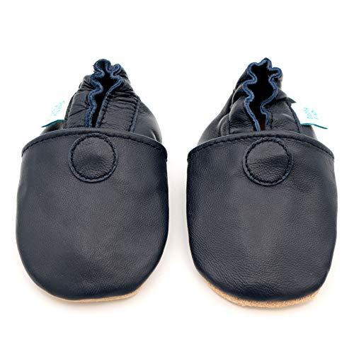 Dotty Fish weiche Leder Babyschuhe mit rutschfesten Wildledersohlen. 18-24 Monate (23 EU). Einfarbig marineblauer Schuh. Klassisches Design. Jungen und Mädchen. Kleinkind Schuhe.