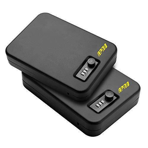 "RPNB Gun Safe, Portable Metal Handgun Safe & Case with 3 Digits Combination Lock, Measures 10"" x 7"" x 2"" Black, 2 Pack"
