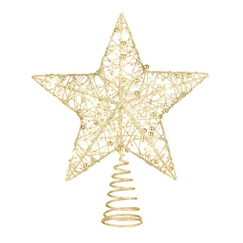 NUOBESTY Golden Star Tree Topper Christmas Glitter Star LED Star Ornament Christmas Decoration for Party Home Office, 25 x 30cm