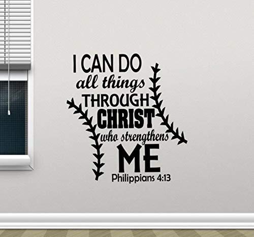 Autocollant mural en vinyle avec citation I Can Do All Things Through Christ Who Strengthens Me 4:13