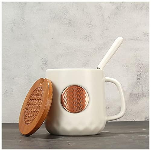 Personalidad creativa 13 oz Cerámica Café Bronce Medalla Constelación Copa Moda Moda Hombres y mujeres Pareja Lamps Taza 395ml (Color : Matt white cup, Size : Scorpio)