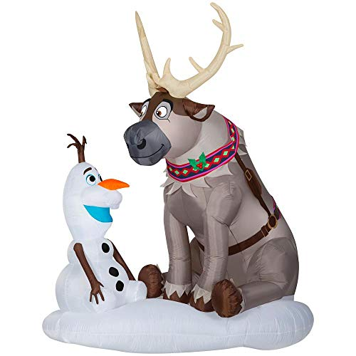Gemmy 7FT Tall InflatableFrozen Sven with Olaf Indoor/Outdoor Decoration