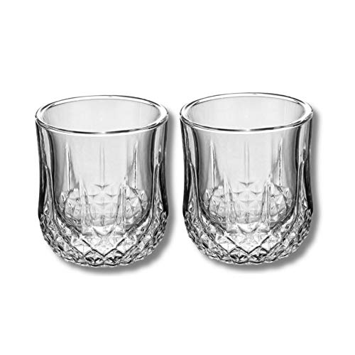 Vasos de whisky, Vasos de Whisky de Doble Pared, Vidrio Súper Transparente sin Plomo, Jarra de Cristal Perfecto para Whisky, Cóctel, Bourbon, Escocés. Juego de 2, 250 ml