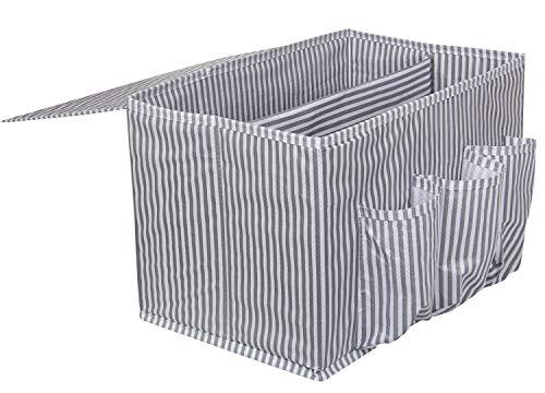 Suns - Organizador de cama de fieltro antideslizante, para mesita de noche, para sofá, cama, para colgar libros, revistas, iPad, teléfono móvil, mando a distancia, color blanco y gris (2)
