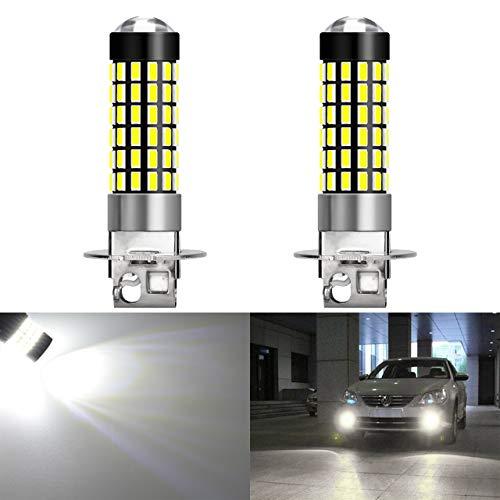 KATUR 2pcs 900 Lumens H3 Base Super Bright 3014 78SMD Lentille LED Ampoules Voiture Conduite Feux diurnes Blanc Xenon 6000K DC 12V-24V