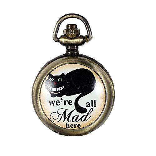 Diseño Retro de We JewelryWe con texto de bolsillo las Mad con camafeo reloj infantil de cuarzo collar con colgante de 77,98 cm (incluye bolsa de regalo) cadena
