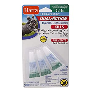 Hartz UltraGuard Dual Action Topical Flea & Tick Prevention for Dogs and Puppies – 5-14 lbs, 3 Monthly Treatments