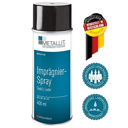 Metallit Imprägnier-Spray 400ml, speziell für Leder-, Outdoor- und Regenbekleidung. Wetterschutz für Gartenpolster Aller Art, Zelte und Markisen oder auch Cabrio-Verdecke