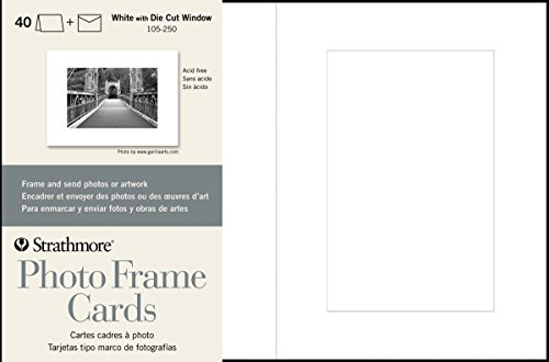 Strathmore 105-250 Photo Frame Cards Cutout Window, 40 Cards & Envelopes, 40 Cards & Envelopes