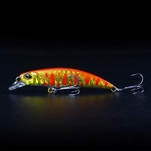Fishing Lures Minnow Sinking Lure Realistic Scale Pattern 3D Lifelike Eyes Suitable for Many Kinds of Fish, Such as cockerel, Mandarin Fish, sea bass, etc (red)