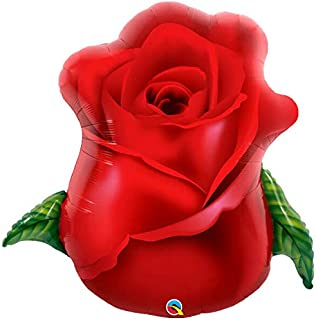 Qualatex Red Rose Bud Shape Foil Balloon, 33-Inch Size