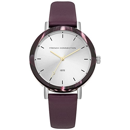 French Connection dames datum klassiek kwarts horloge met lederen armband FC1315V