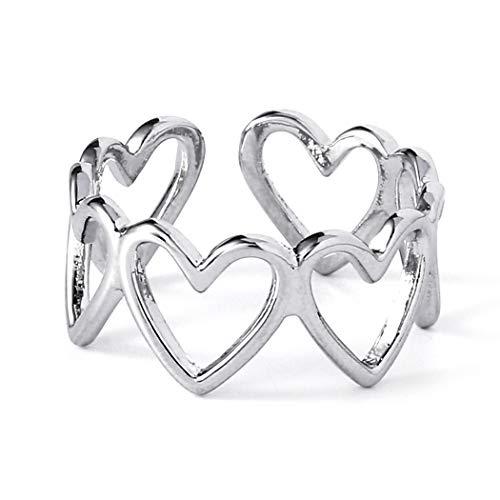 Aukmla Anillo de corazón vintage de plata con anillos abiertos ajustables de corazón a corazón para mujeres y niñas