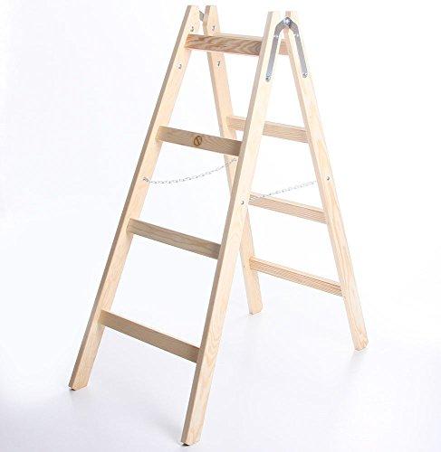 Holzleiter STANDARD 2x4 Stufen Zweiseitige Klappleiter Leiter Haushaltsleiter 150kg