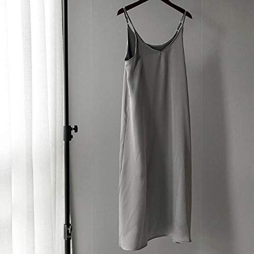 YSSDEH Kleider Frauen Frühling Sommer Satin Kleid Glänzendes Sommerkleid Vintage Imitation Seide Kleid Mode Langer Rock