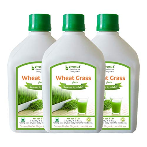 Bhumija Lifesciences Plain Wheatgrass Juice – Natural | Herbal Juice Sugar Free 1 Ltr (Pack of Three)