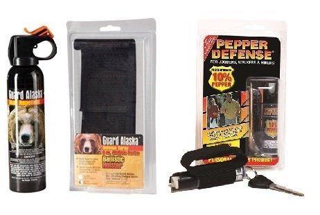 Pepper Defense Bundle - Guard Alaska Bear Repellent + Belt Clip Holster Max Strength 10% OC Pepper Spray for Hiking, Camping, Jogging, Walking, Running
