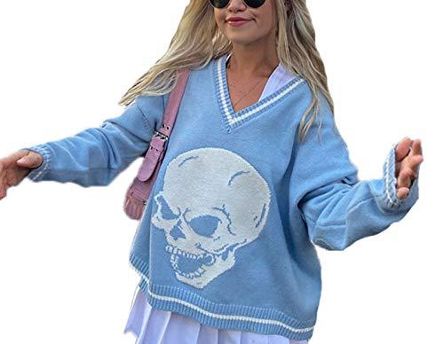 Keephen Suéter de Estilo Preppy de los años 90 con Estampado de Calavera para Mujer Y2K con Cuello en V Jersey Suelto Informal Suéter de Punto Suéteres Superiores