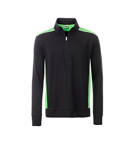 2Store24 Workwear Halfzip Sweat-Level 2 in Black/Lime-Green Taille: 6XL