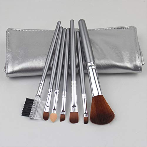 Pinceau De Maquillage Set, Advanced Maquillage Synthétique Pinceau, Maquillage Outil, Pinceau Blush, Pinceau De Maquillage 7pcs, Outil De Beauté (Silver)