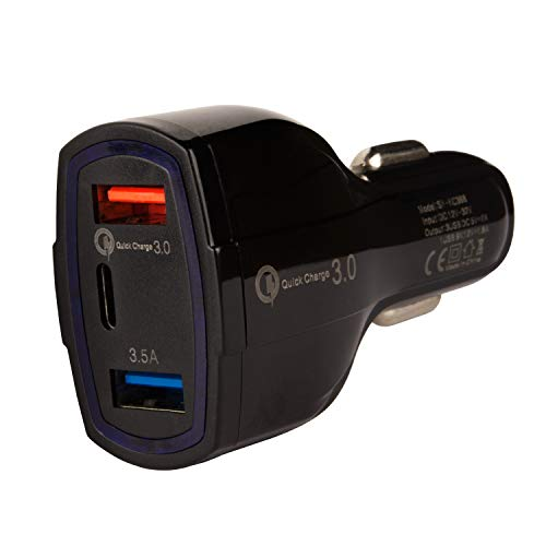 tecnan autolader KFZ 3 poorts USB 7A Type-C Quick Charge QC 3.0 snellader autoadapter stekker laadstekker voor iPhone X XS Xr, 7 8 Plus, Samsung, HTC, Huawei, powerbank [zwart]