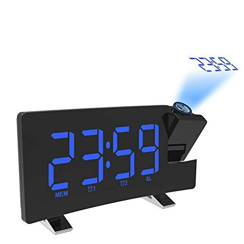 FPRW wekker met gebogen display, USB-oplader, draagbaar, digitale projectieklok, multifunctioneel met led-display, FM-radiogestuurde klok, snooze, blauw