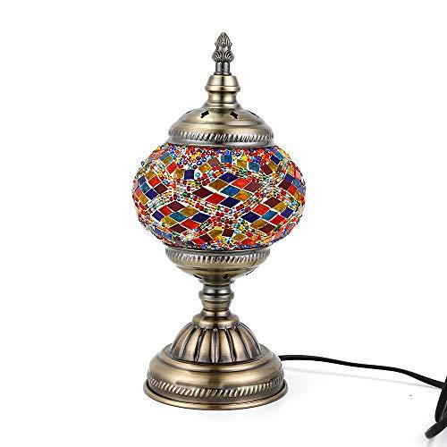 Orientalische Marokkanische Lampe Mosaik Glaslampe Vintage für Schlafzimmer Nachttischlampe Bronze Basis (Multicolor2)