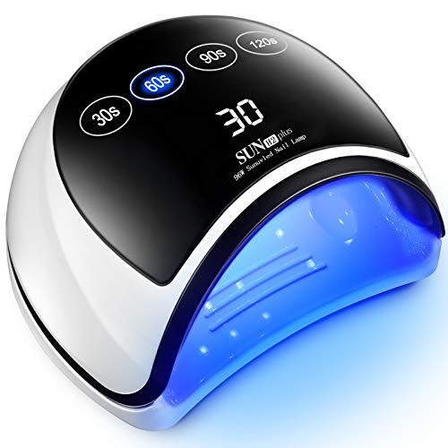 UV LED Nail Lamp, Villsure Faster Nail Dryer for Gel Polish with 4 Timer Settings,Auto Sensor & Big LCD Touch Screen,Professional Gel Polish Light Curing Lamp for Fingernail and Toenail