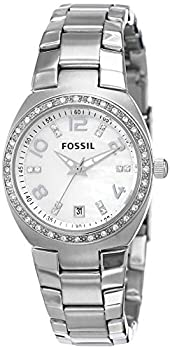 Fossil Women s Serena Quartz Stainless Steel Three-Hand Date Watch Color  Silver Glitz  Model  AM4141