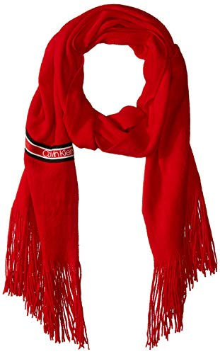 Calvin Klein Women's Woven Wrap Scarf, process red solid, One Size