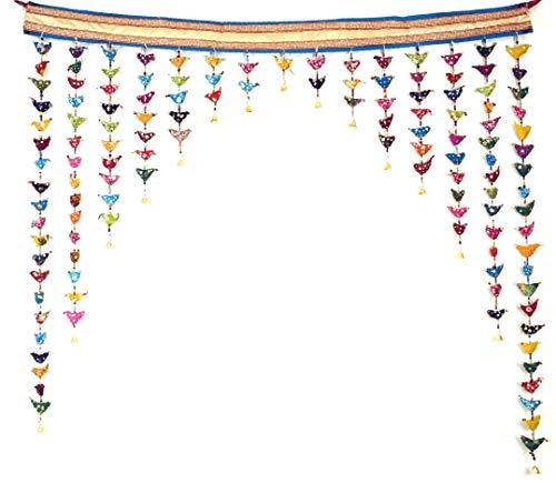 Guru-Shop Toran, Türvorhang mit Bunten Vögeln, Mehrfarbig, 50x100 cm, Wandtaschen & Wandbehänge